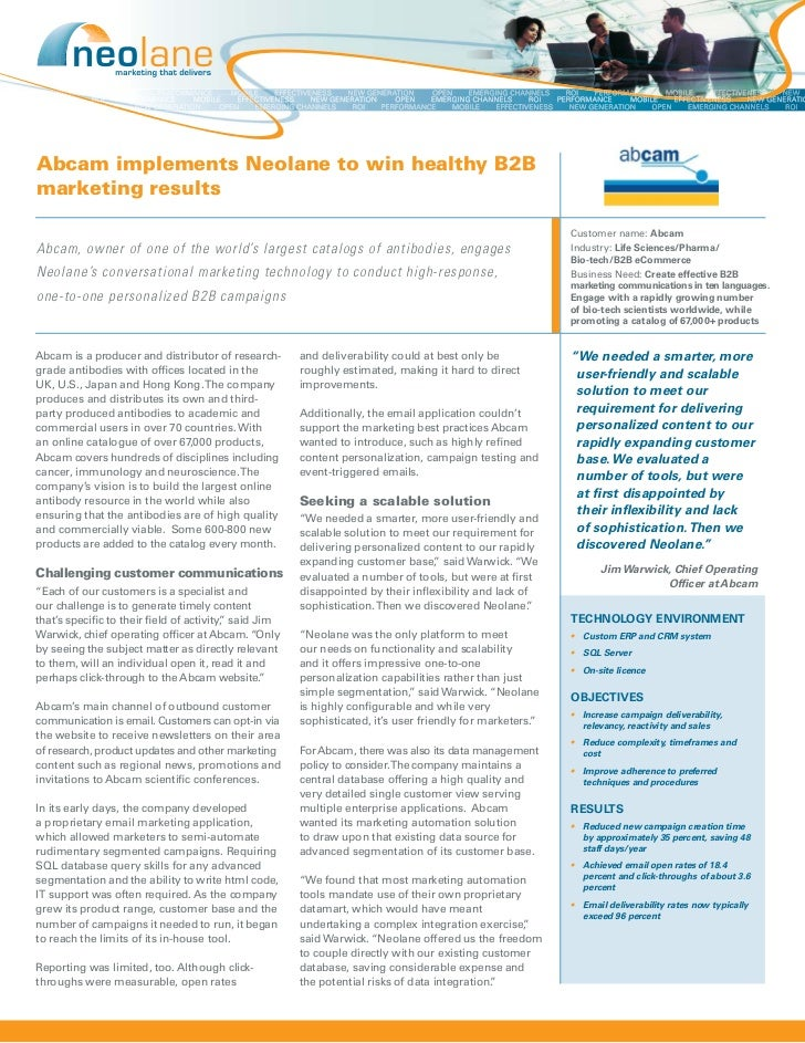 Abcam implements Neolane to win healthy B2Bmarketing results                                                              ...
