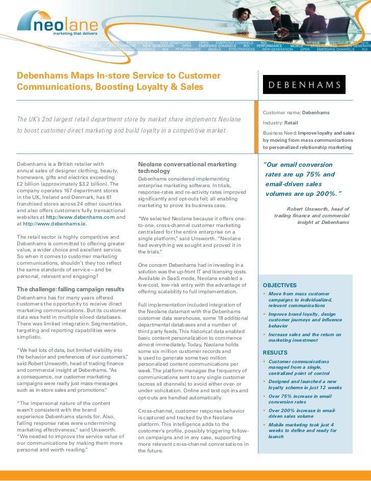 Debenhams Maps In-store Service to CustomerCommunications, Boosting Loyalty & Sales                                       ...