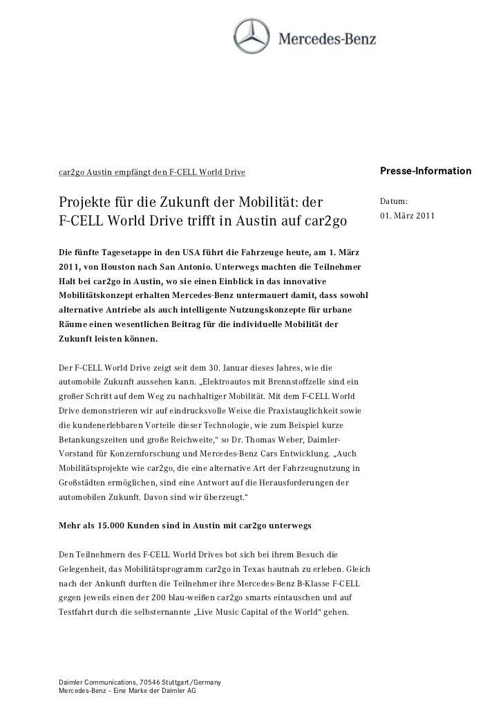 car2go Austin empfängt den F-CELL World Drive                                    Presse-InformationProjekte für die Zukunf...