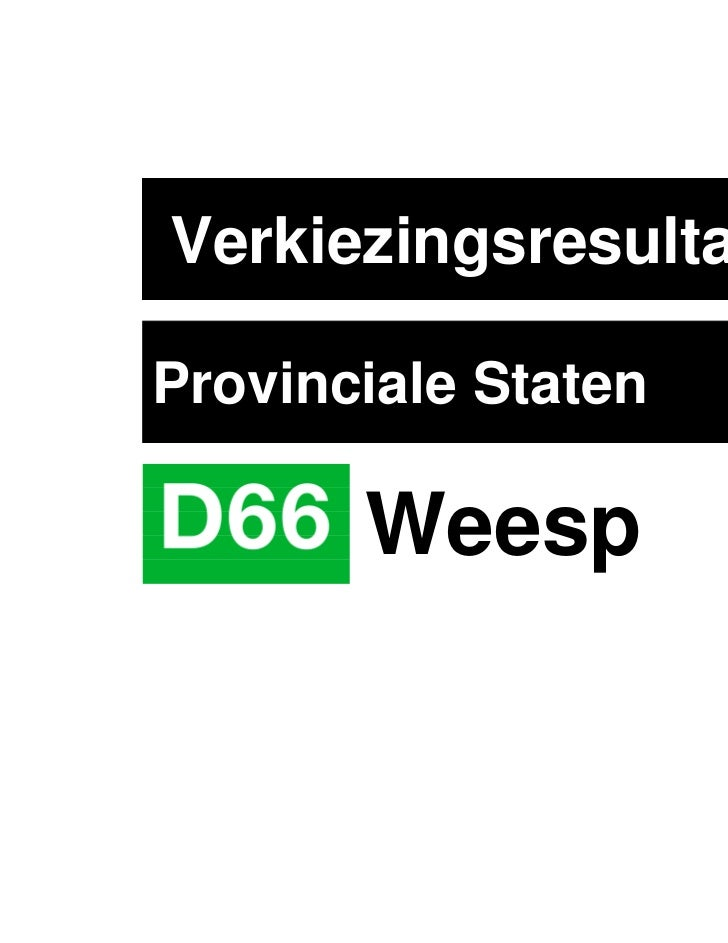 VerkiezingsresultatenProvinciale Staten       Weesp