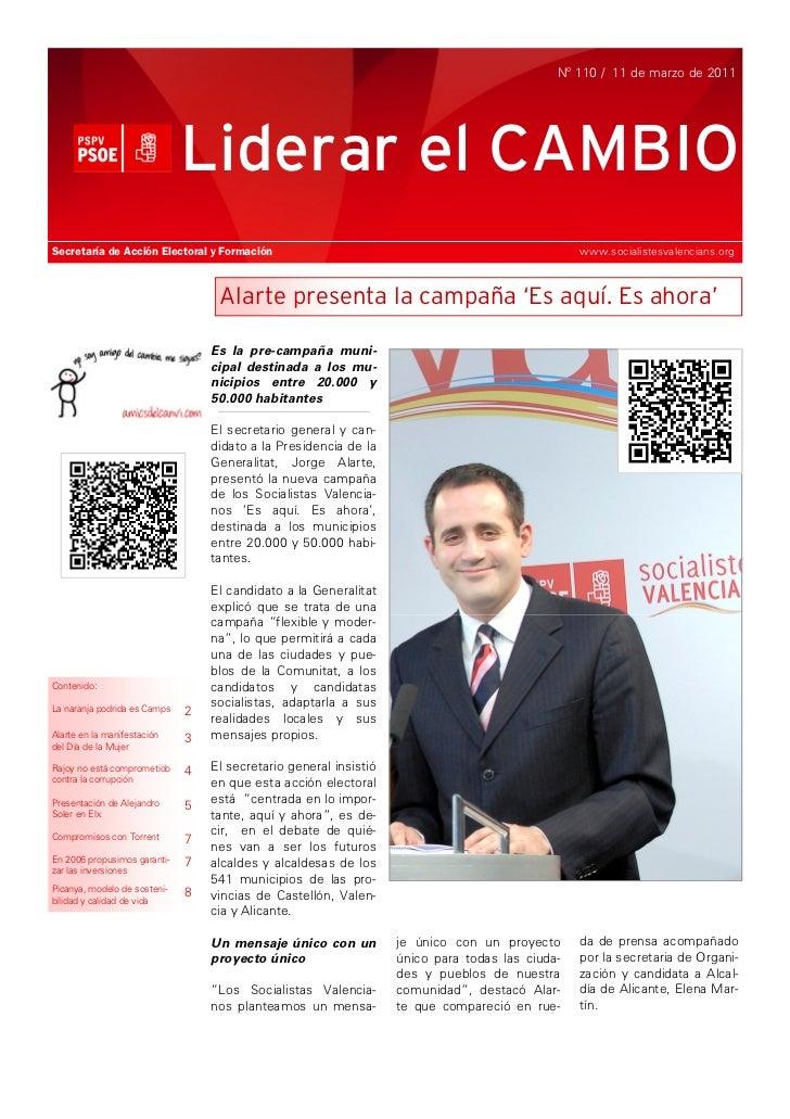 Nº 110 / 11 de marzo de 2011                              Liderar el CAMBIOSecretaría de Acción Electoral y Formación     ...