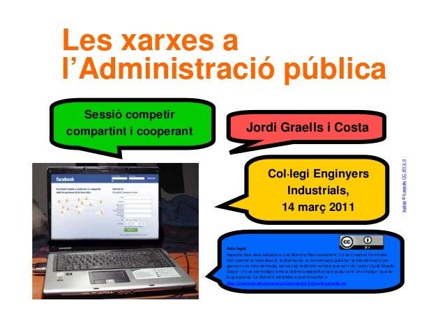 1 Col·legi Enginyers Industrials, 14 març 2011 Sessió competir compartint i cooperant Jordi Graells i Costa Les xarxes a l...