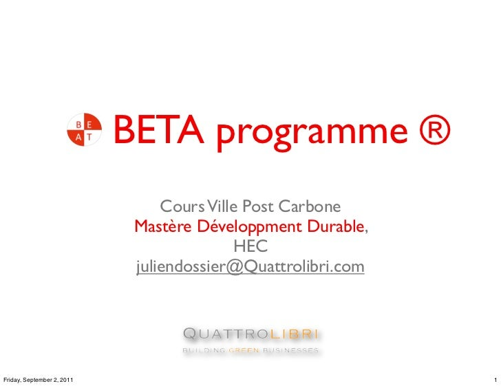 BETA programme ®                                 Cours Ville Post Carbone                             Mastère Développment...