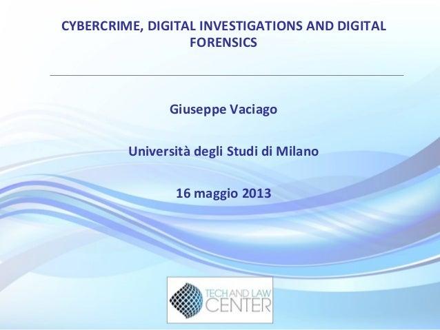 CYBERCRIME, DIGITAL INVESTIGATIONS AND DIGITAL FORENSICS Giuseppe Vaciago  Università degli Studi ...