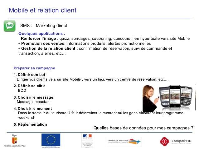 SMS : Marketing direct Quelques applications : Renforcer l'image : quizz, sondages, couponing, concours, lien hypertexte v...
