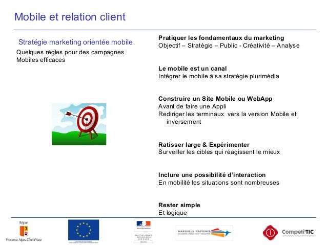Mobile et relation client Stratégie marketing orientée mobile Quelques règles pour des campagnes Mobiles efficaces Pratiqu...