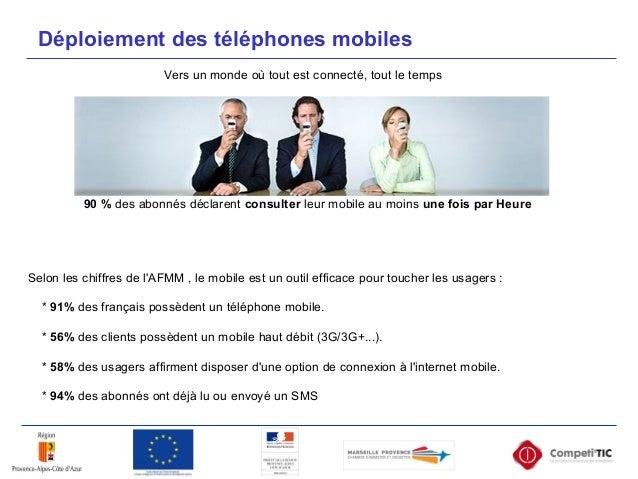 Selon les chiffres de l'AFMM , le mobile est un outil efficace pour toucher les usagers : * 91% des français possèdent un ...