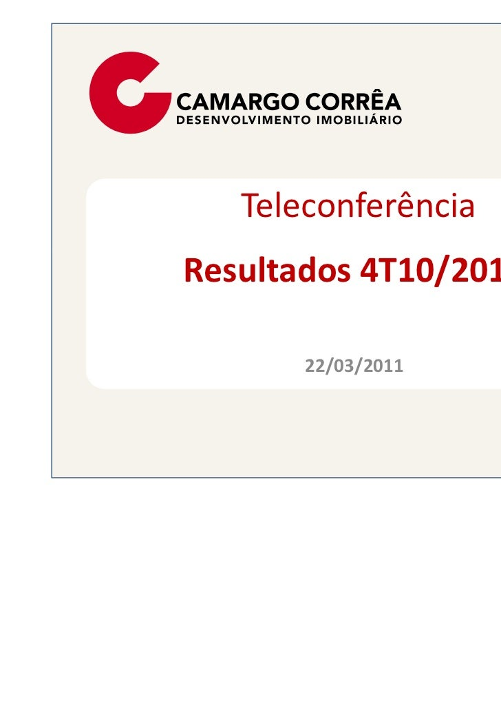 TeleconferênciaResultados 4T10/2010       22/03/2011
