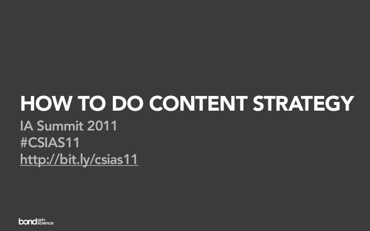HOW TO DO CONTENT STRATEGYIA Summit 2011#CSIAS11http://bit.ly/csias11