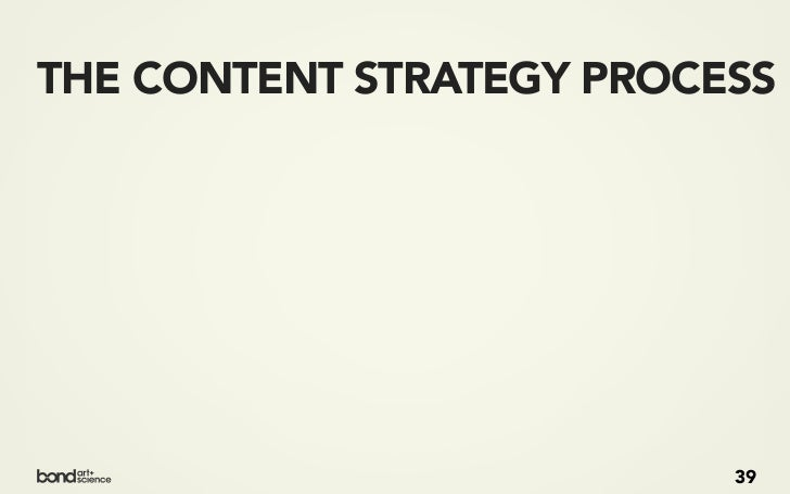 THE CONTENT STRATEGY PROCESS PLAN   ANALYZE   CREATE                           39