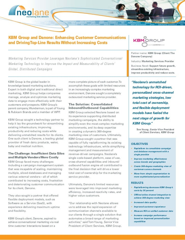 KBM Group and Danone: Enhancing Customer Communicationsand Driving Top-Line Results Without Increasing Costs              ...