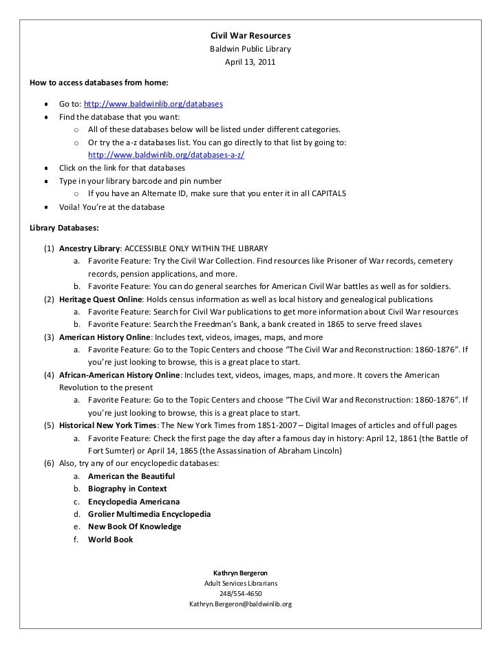 Civil War ResourcesBaldwin Public LibraryApril 13, 2011<br />How to access databases from home:<br /><ul><li>Go to: http:/...