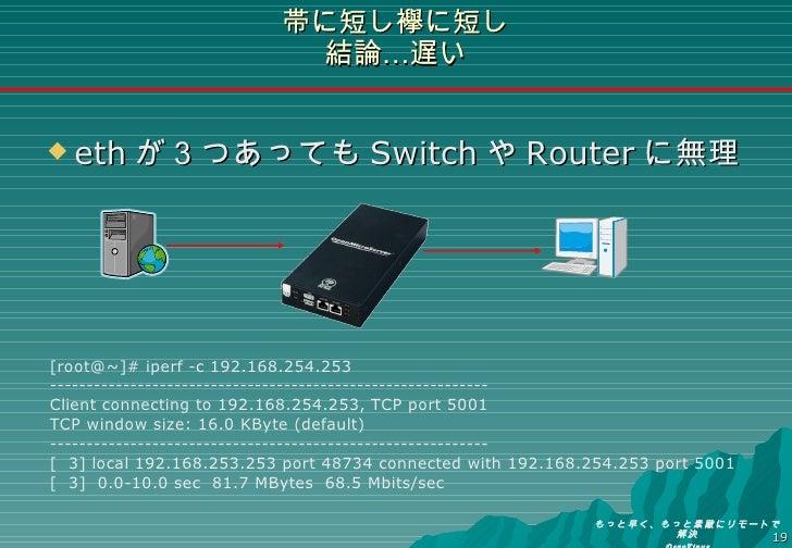 帯に短し襷に短し 結論…遅い <ul><li>eth が3つあっても Switch や Router に無理 </li></ul>[root@~]# iperf -c 192.168.254.253 ----------------------...