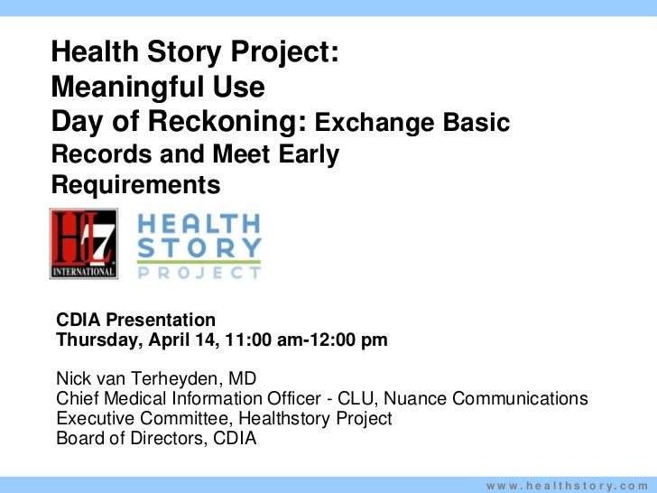 Meaningful Use Day Of Reckoning Health Story   Nick Van Terheyden