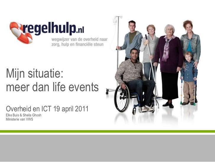 Mijnsituatie:meerdan life eventsOverheid en ICT 19 april 2011ElkeBuis & Sheila GhoshMinisterie van VWS<br />