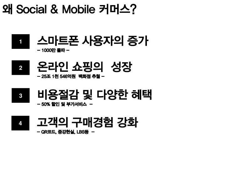 현재 국내 시장은  Mobile Commerce           Social Commerce                    201 고객접점 확보                  경쟁가열 / 브랜드
