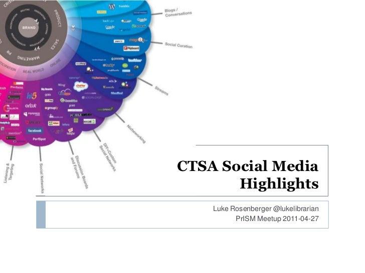 CTSA Social MediaHighlights<br />Luke Rosenberger @lukelibrarian<br />PrISMMeetup 2011-04-27<br />