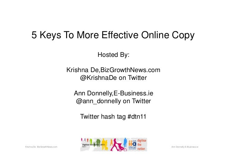 5 Keys To More Effective Online Copy                                         Hosted By:                               Kris...