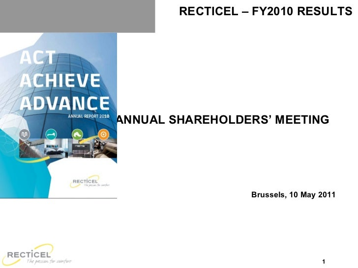 ANNUAL SHAREHOLDERS ' MEETING  Brussels, 10 May 2011 RECTICEL – FY2010 RESULTS