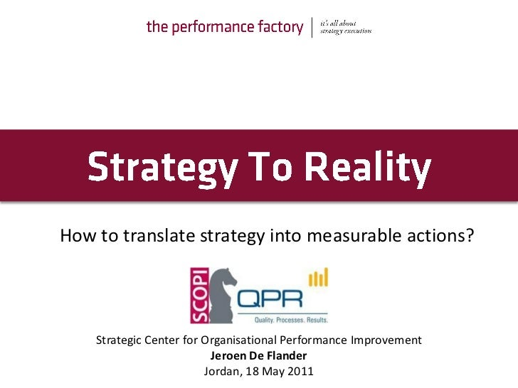 How to translate strategy into measurable actions?    Strategic Center for Organisational Performance Improvement         ...