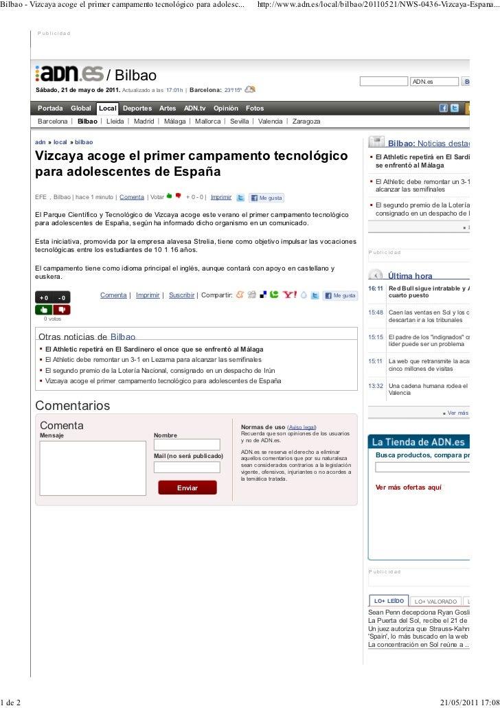 Bilbao - Vizcaya acoge el primer campamento tecnológico para adolesc...                       http://www.adn.es/local/bilb...