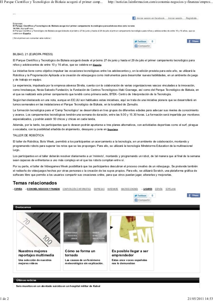 El Parque Científico y Tecnológico de Bizkaia acogerá el primer camp...                                       http://notic...