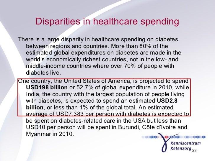 Disparities in healthcare spending <ul><li>There is a large disparity in healthcare spending on diabetes between regions a...