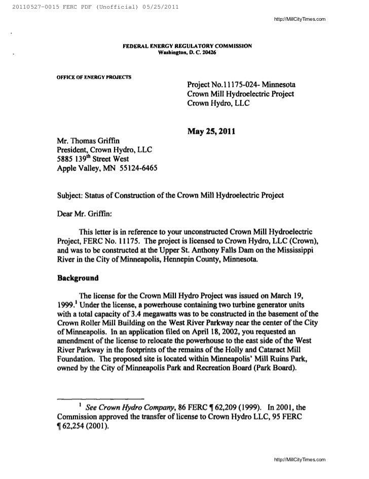 FERC Termination Letter To Crown Hydro. 20110527 0015 FERC PDF (Unofficial)  05/25/2011 .