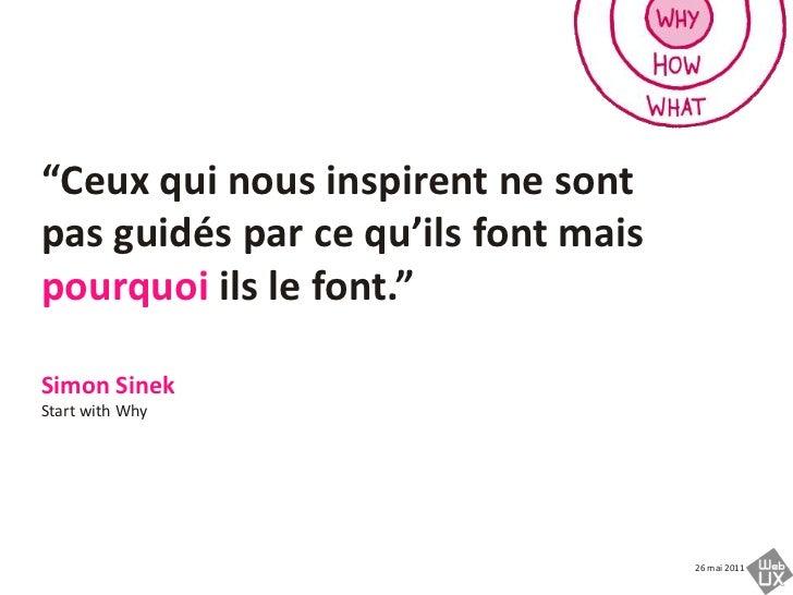 """""""Ceux qui nous inspirent ne sont pas guidés par cequ'ils font maispourquoiils le font.""""<br />Simon SinekStart with Why<br />"""