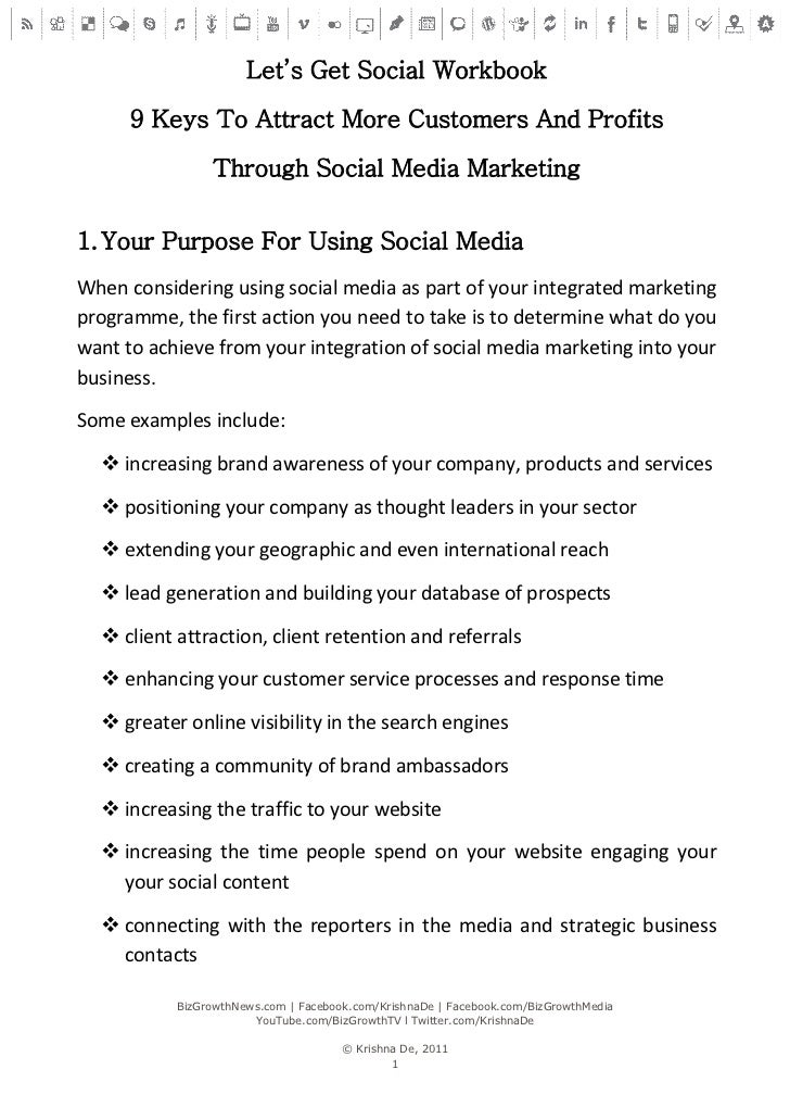 Let's Get Social Workbook      9 Keys To Attract More Customers And Profits                Through Social Media Marketing1...