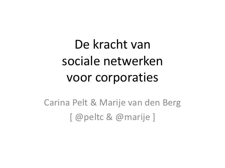 De kracht van sociale netwerkenvoor corporaties<br />Carina Pelt & Marije van den Berg<br />[ @peltc & @marije ]<br />