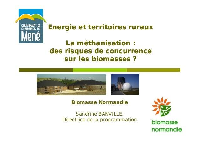 Energie et territoires rurauxEnergie et territoires ruraux La méthanisation :La méthanisation : des risques de concurrence...