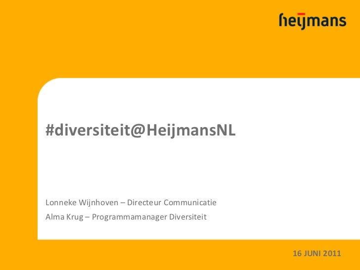 #diversiteit@HeijmansNLLonneke Wijnhoven – Directeur CommunicatieAlma Krug – Programmamanager Diversiteit                 ...