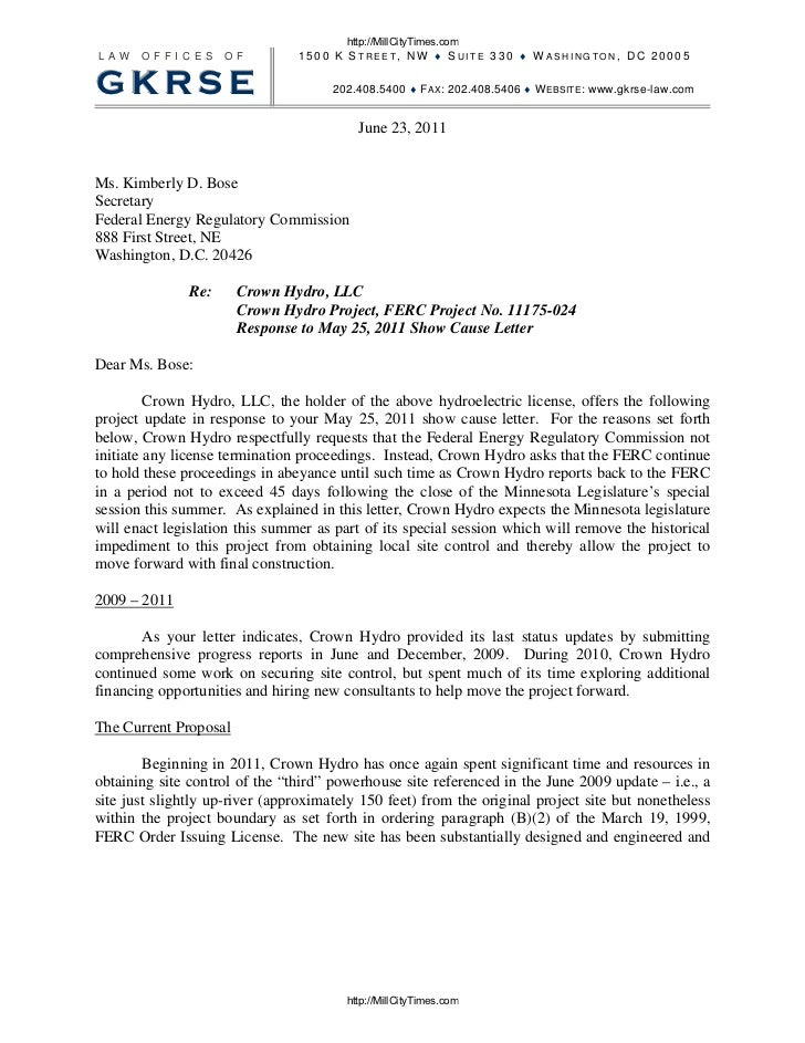 Crown Hydro Response To Ferc Termination Letter