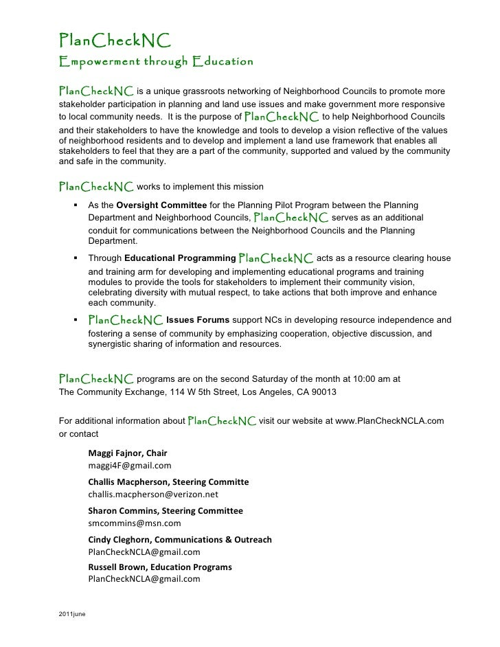 PlanCheckNCEmpowerment through EducationPlanCheckNC is a unique grassroots networking of Neighborhood Councils to promote ...