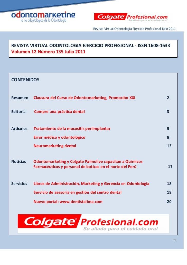 Revista Virtual Odontología Ejercicio Profesional Julio 2011REVISTA VIRTUAL ODONTOLOGIA EJERCICIO PROFESIONAL - ISSN 1608-...