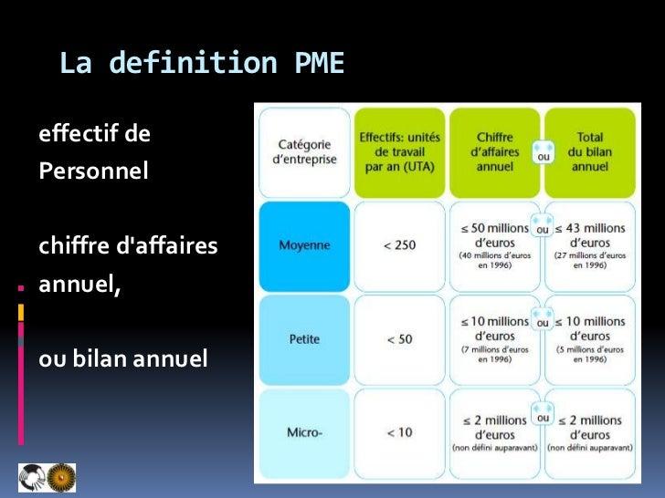 La definition PME<br />effectif de<br />Personnel<br />chiffre d'affaires<br />annuel, <br />ou bilan annuel <br />