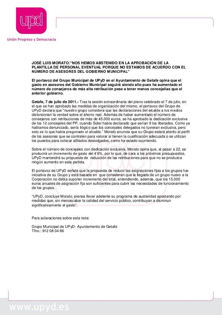 """JOSÉ LUIS MORATO:""""NOS HEMOS ABSTENIDO EN LA APROBACIÓN DE LAPLANTILLA DE PERSONAL EVENTUAL PORQUE NO ESTAMOS DE ACUERDO CO..."""