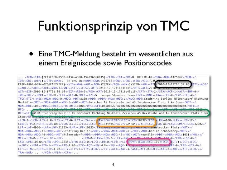 Funktionsprinzip von TMC•   Eine TMC-Meldung besteht im wesentlichen aus    einem Ereigniscode sowie Positionscodes➡ Für I...