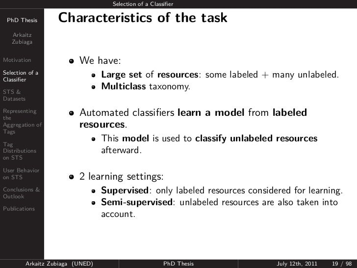 Selection of a Classifier PhD Thesis          Characteristics of the task   Arkaitz   ZubiagaMotivation                  We...