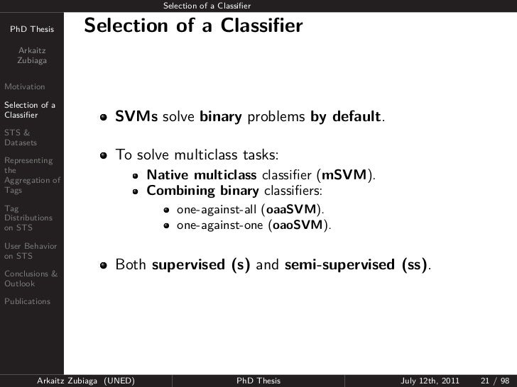 Selection of a Classifier PhD Thesis          Selection of a Classifier   Arkaitz   ZubiagaMotivationSelection of aClassifier...