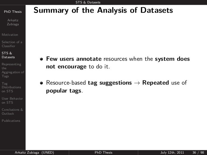 STS & Datasets PhD Thesis          Summary of the Analysis of Datasets   Arkaitz   ZubiagaMotivationSelection of aClassifie...