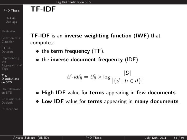 Tag Distributions on STS PhD Thesis          TF-IDF   Arkaitz   ZubiagaMotivationSelection of a       TF-IDF is an inverse...