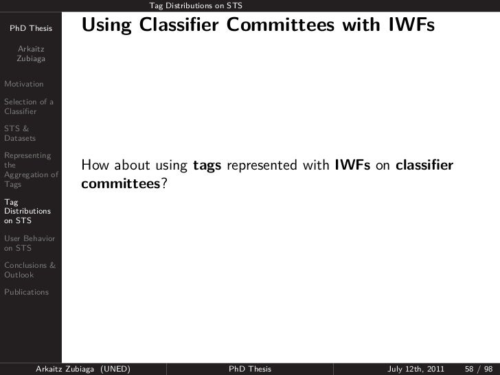 Tag Distributions on STS PhD Thesis          Using Classifier Committees with IWFs   Arkaitz   ZubiagaMotivationSelection o...