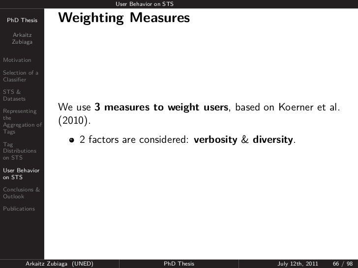 User Behavior on STS PhD Thesis          Weighting Measures   Arkaitz   ZubiagaMotivationSelection of aClassifierSTS &Datas...