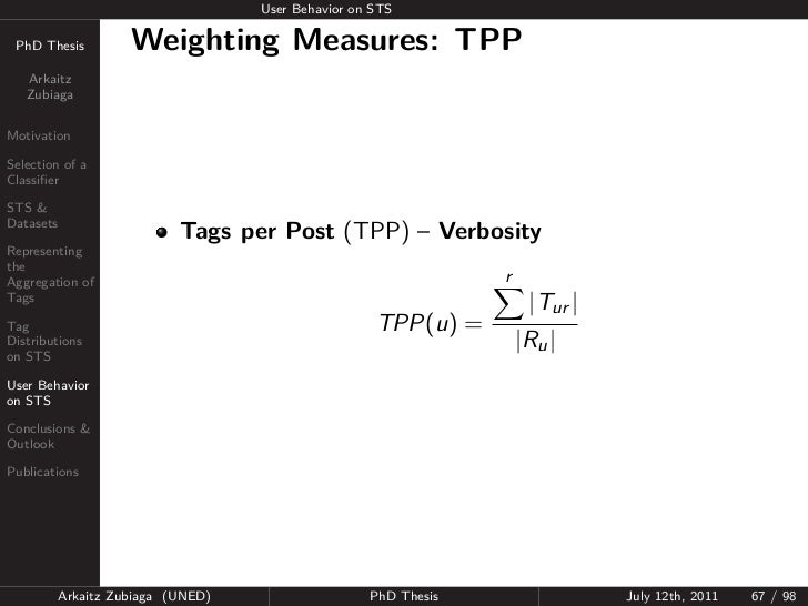 User Behavior on STS PhD Thesis          Weighting Measures: TPP   Arkaitz   ZubiagaMotivationSelection of aClassifierSTS &...