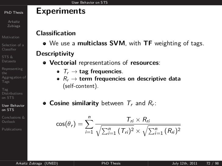 User Behavior on STS PhD Thesis          Experiments   Arkaitz   ZubiagaMotivation                     ClassificationSelect...