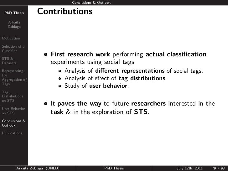 Conclusions & Outlook PhD Thesis          Contributions   Arkaitz   ZubiagaMotivationSelection of aClassifier              ...