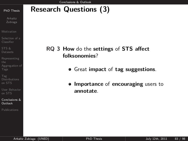 Conclusions & Outlook PhD Thesis          Research Questions (3)   Arkaitz   ZubiagaMotivationSelection of aClassifierSTS &...