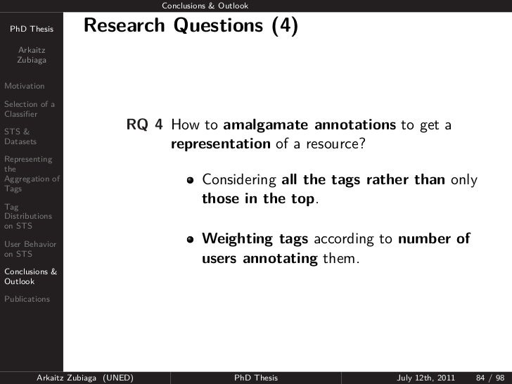 Conclusions & Outlook PhD Thesis          Research Questions (4)   Arkaitz   ZubiagaMotivationSelection of aClassifierSTS &...